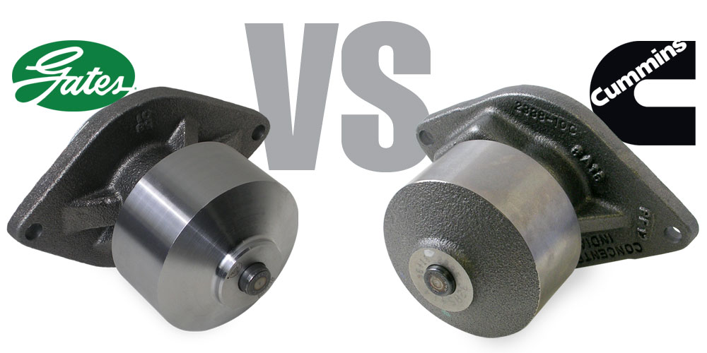 Gates versus Cummins brand water pump.