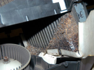 Blocked Dodge Ram A/C evaporator.