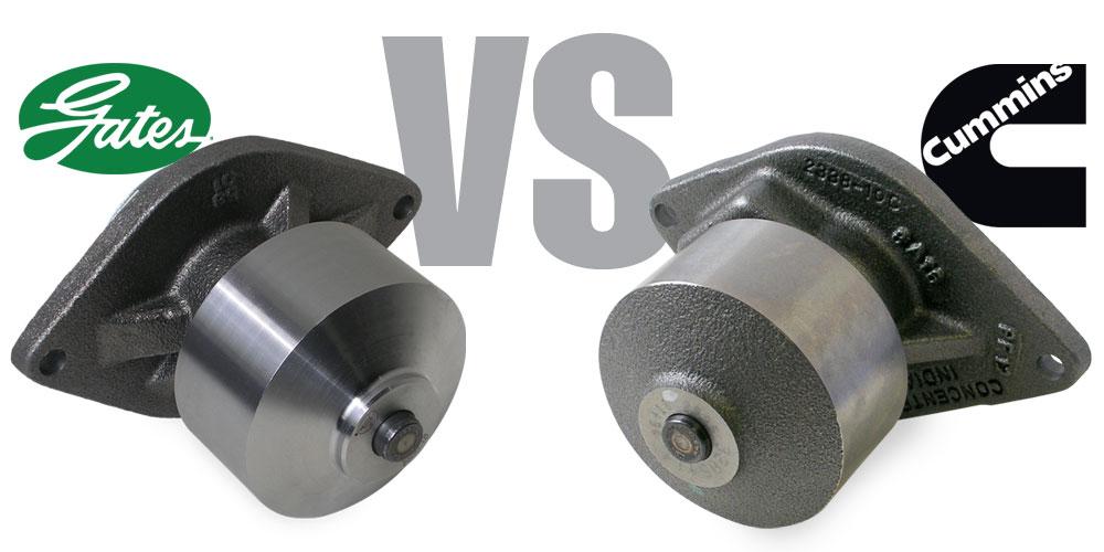 Gates versus Cummins brand water pump.