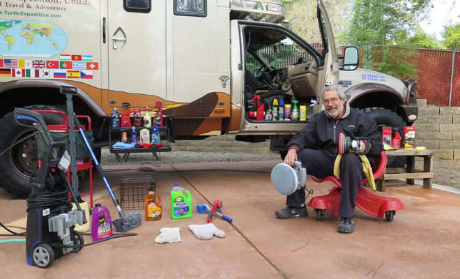 Cleaning products laid out to clean truck.
